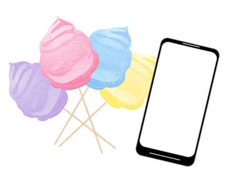 spun sugar: Illustration of some colorful cotton candy with a smart phone for ordering on a white background