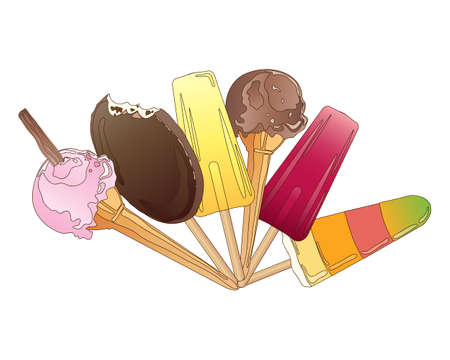 treats: an illustration of a selection of ice cream treats with cones choc ices and ice lollies on a white background