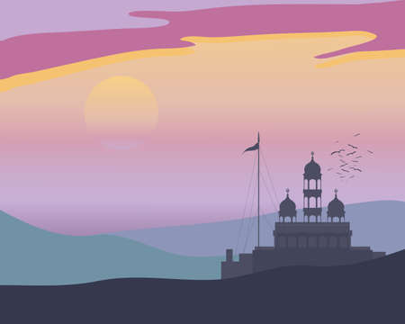 sikhism: an illustration of a punjabi landscape at evening prayers with gurdwara before a colorful sunset and a flock of birds going to roost Illustration