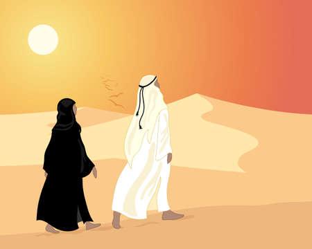 une illustration d'un couple arab marchant à travers les dunes de sable dans la soirée sous un ciel orange coucher de soleil
