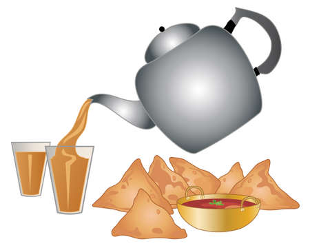 india food: an illustration of a big metal indian tea pot pouring out masala tea in to a glass with a snack of spicy samosas and dip on a white background Illustration