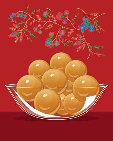 gulab: an illustration of a bowl of gulab jamun an indian dessert on a red background with asian flower decoration