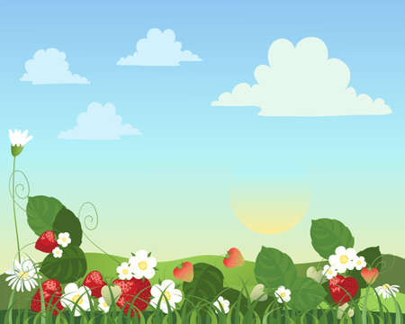home grown: an illustration of a strawberry patch with fruit flowers and daisies with a summer landscape in the background