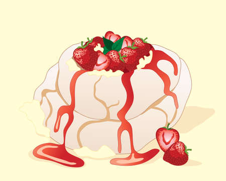 an illustration of a strawberry pavlova meringue dessert with fresh fruit cream and mint leaf garnish on a yellow background Illustration