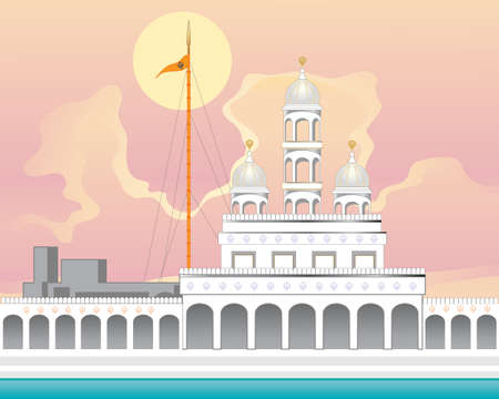 an illustration of a beautiful punjabi gurdwara in white marble with orange flag pole known as nishan sahib and sarovar at sunrise with a big yellow sun Stock Vector - 54340724