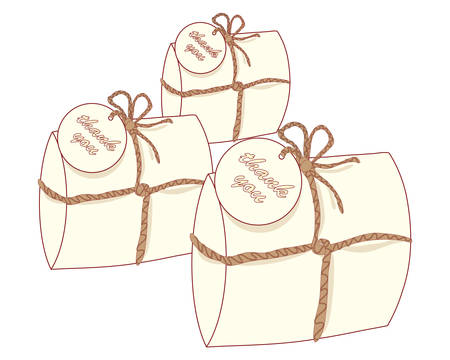 favors: an illustration of three small decorative gift packages with a thank you tag known as wedding favors containing a piece of wedding cake on a white background