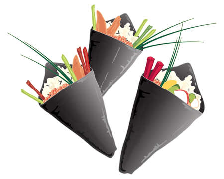 rolled up: an illustration of a variety of sushi cones with wild rice salmon vegetables and chives on a white background