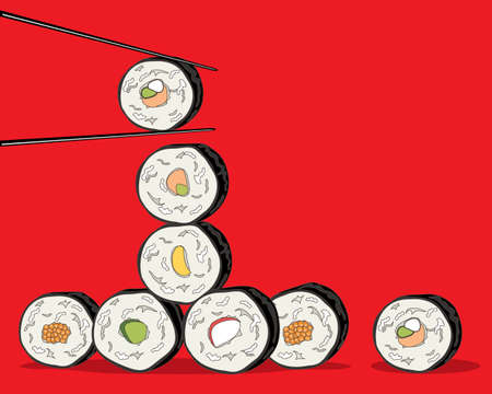far east: an illustration of a variety of sushi rolls with chopsticks on a red background