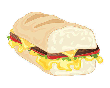 an illustration of a big sandwich with burgers melted cheese lettuce and tomato in a big french baguette on a white background