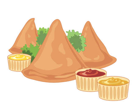 deep fried: an illustration of three crispy samosas with parsley garnish and spicy dips on a white background Illustration