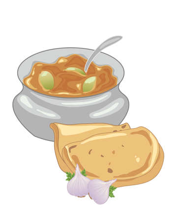 side dish: an illustration of a bowl of traditional indian lime pickle in a metal bowl with two roti and garlic bulb on a white background