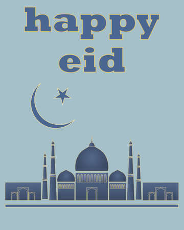 history architecture: an illustration of a happy eid greeting card in blue and gold for the muslim festival
