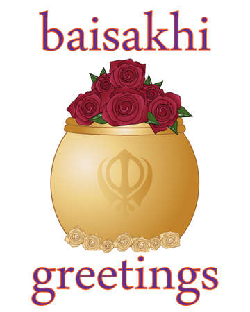 sikh: an illustration of a baisakhi greeting card for the sikh religious festival with golde rose bowl on a white background