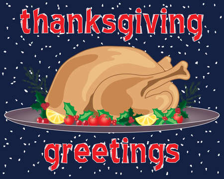 trimmings: an illustration of a thanksgiving greeting card with roast turkey meal and trimmings on a snowy background