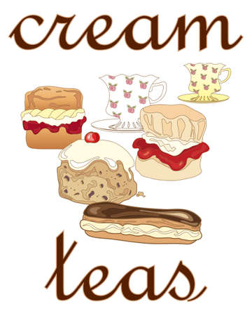 eclair: an illustration of a poster advert for cream teas with fancy cups and saucers and delicious cream buns on a white background