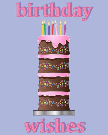 multi layered: an illustration of a birthday greeting card design with multi layered chocolate cake decorated with pink frosting and colorful candles