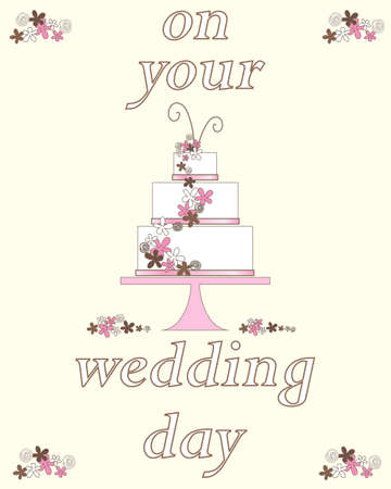 cake with icing: an illustration of a wedding day greeting card with decorative celebration cake and flowers on a cream background Illustration