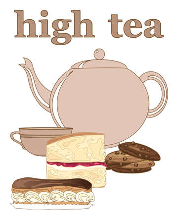 advert: an illustration of an afternoon tea advert with crockery and cakes on a white background Illustration