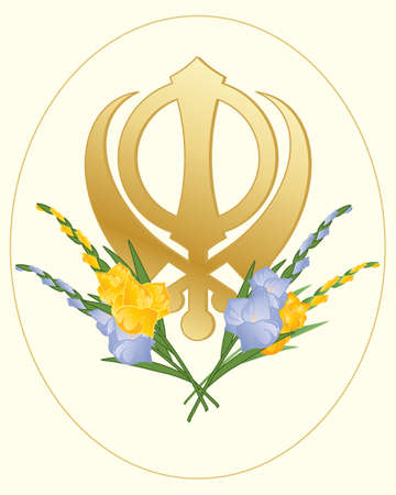 khanda: an illustration of a greeting card with a sikh golden symbol of the faith decorated with gladioli flowers on a cream background