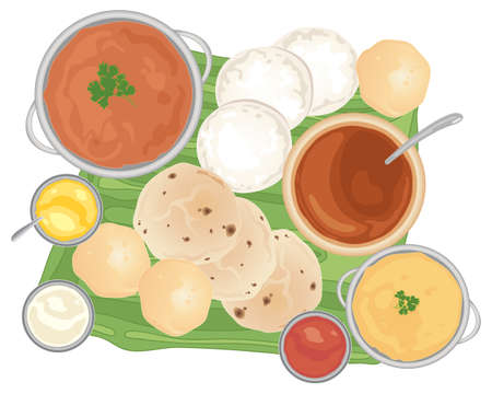 banana leaf food: an illustration of a traditional indian meal with curries and breads on a banana leaf and white background Illustration