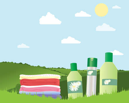 cleaning products: an illustration of a pile of fresh laundry with cleaning products on green grass in summer