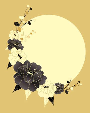 flores chinas: una ilustración de un diseño de estilo chino en el crisantemo de oro y crema de colores negros con un gran sol amarillo