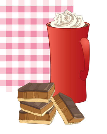 shortbread: an illustration of a mug of coffee with whipped cream and some caramel shortbread with a pink gingham background