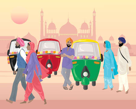 kameez: an illustration of a punjabi street scene with tuk tuks for hire and sikh men and women in front of indian architecture