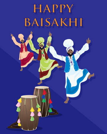 salwar: an illustration of a punjabi celebration greeting card with drums and dancers on a purple background