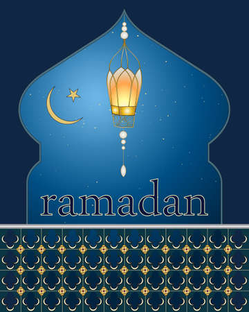 crescent moon: an illustration of a ramadan greeting card with a lantern a star and crescent moon on a starry night background