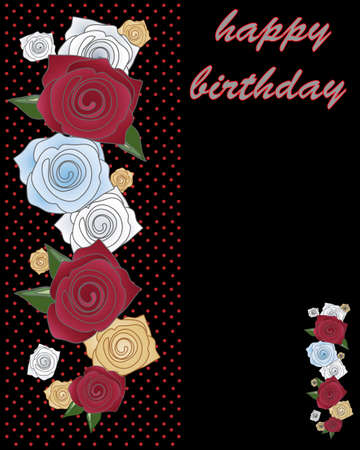 abstract rose: an illustration of a greeting card decorated with stylized roses and the words happy birthday on a black background Illustration