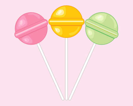 comfort food: an illustration of colorful round candy lollipops in pink yellow and green on a sweet pink background
