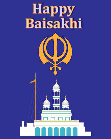 place of worship: an illustration of a greeting card celebrating the sikh festival of baisakhi with a white gurdwara and a chakra symbol on a purple background Illustration
