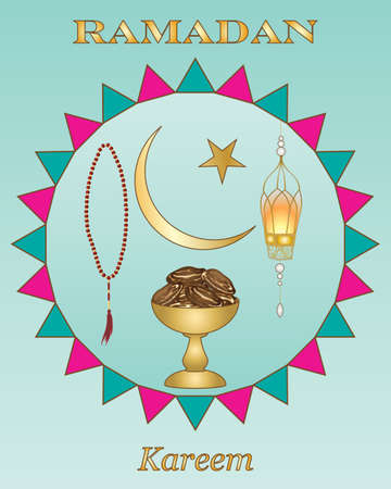 jade: an illustration of a ramadan greeting card with gold lettering a bowl with dates prayer beads and lantern on a jade background