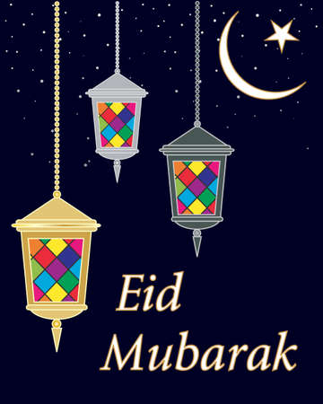 An illustration of an islamic eid greeting card with lanterns an illustration of an islamic eid greeting card with lanterns and a star and crescent moon m4hsunfo