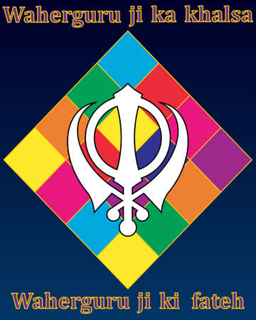khanda: an illustration of a holy sikh greeting card with sikh symbol colorful diamond and the words the khalsa are the chosen of god victoy be to our god