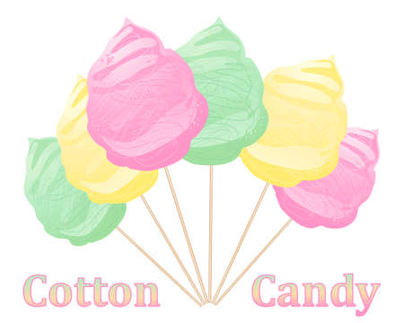 an illustration of pink yellow and green cotton candy on wooden sticks on a white background Illustration