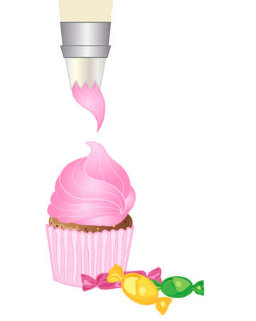 cake with icing: an illustration of an icing bag piping pink icing on to a cake with some colorful wrapped candy on a white background