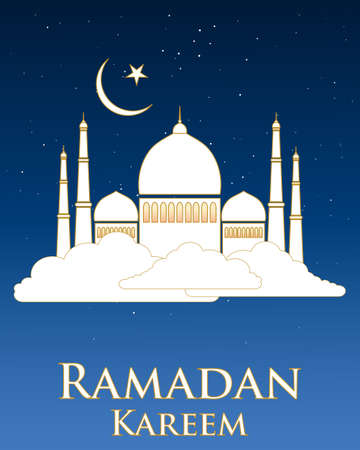 place of worship: an illustration of a ramadan greeting card with a white mosque with gold trim floating on a white cloud with stars and moon on a dark nlue background