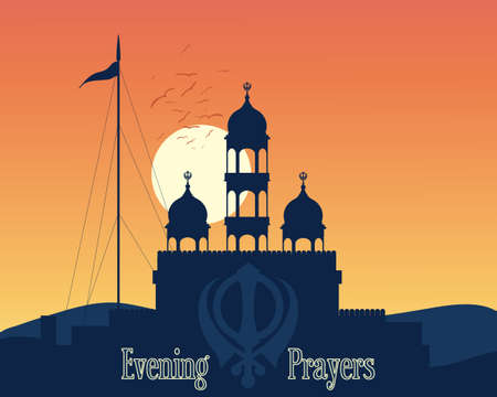 sikh: an illustration of a sikh gurdwara at sunset in the hills of india at the time of evening prayers