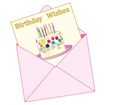 birthday wishes: an illustration of a pink envelope with a birthday greeting card showing a colorful celebration cake and the words birthday wishes on a white background