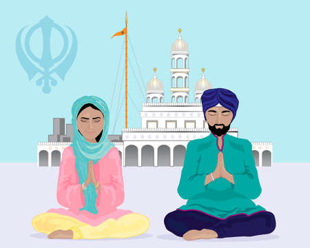 an illustration of a sikh couple praying outside of a gurdwara temple under a blue sky Illustration