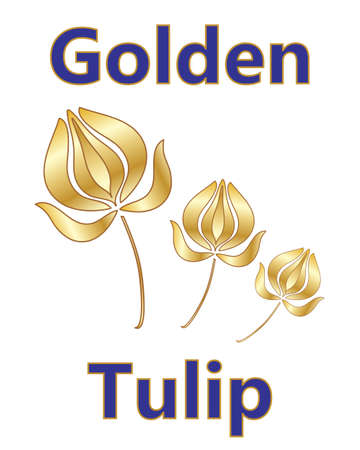 adverts: an illustration of a metallic golden tulip design with a stylized flower and blue and gold type on a white background Illustration
