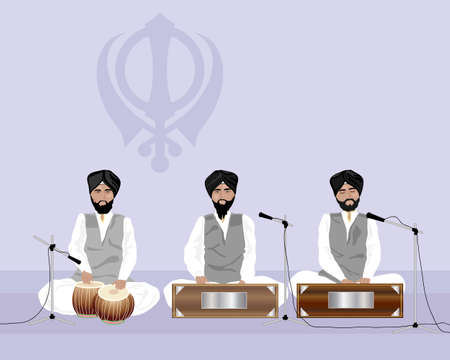 sikh: an illustration of sikh musicians playing at a temple with sikh symbol on a purple background Illustration