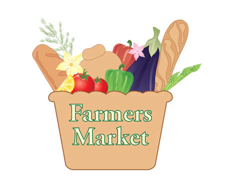 adverts: an illustration of a farmers market sign with basket full of organic produce on a white background