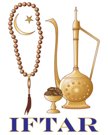 holy jug: an illustration of an iftar party invitation with islamic jug dates prayer beads and crescent moon symbol on a white background Illustration