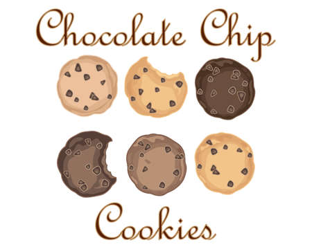 chocolate cookies: an illustration of sweet chocolate chip cookies in an advert format on a white background