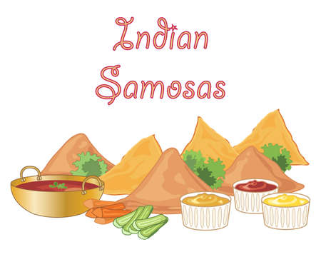 an illustration of some samosa snack food with dipping sauces and vegetable sticks with garnish on a white background
