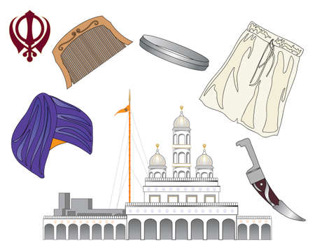 sikhism: an illustration of the symbols of the sikh faith called the five ks with a gurdwara on a white background Illustration