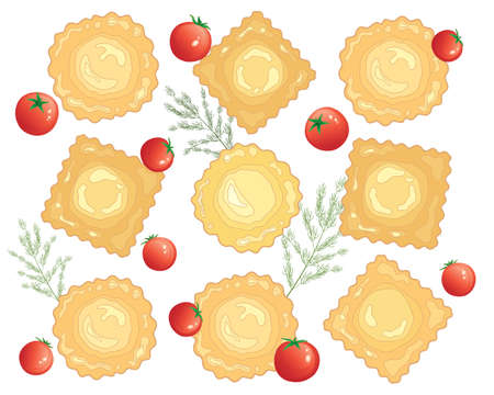 freshly: an illustration of an advert for freshly made ravioli pasta with cherry tomato and dill garnish on a white background Illustration